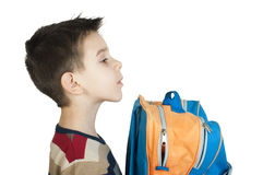 Boy with schoolbag Royalty Free Stock Photos