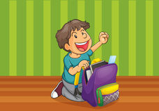 A boy with schoolbag Stock Images