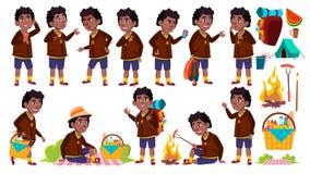 Boy Schoolboy Kid Poses Set Vector. Primary School Child. Black. Afro American. Picnic, Summer Rest. Hike. Vacation. Pose. For Web, Brochure Poster Design stock illustration