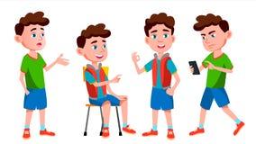 Boy Schoolboy Kid Poses Set Vector. Primary School Child. Auditorium. Friendship. Pose, Beauty. For Web, Brochure stock illustration
