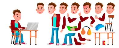 Boy Schoolboy Kid Vector. High School Child. Animation Creation Set. Face Emotions, Gestures. Child Pupil. Subject. Clever, Studying. For Banner, Flyer Web stock illustration