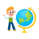 Boy, schoolboy looking at big school globe Royalty Free Stock Images