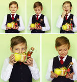 Boy schoolboy with lunch boxes Stock Photography