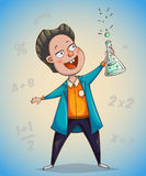 Boy scientist surprised by discovery. Cartoon character. Vector illustration Royalty Free Stock Photo