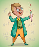 Boy scientist surprised by discovery. Cartoon character. Vector illustration Stock Image