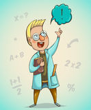 Boy scientist surprised by discovery. Cartoon character. Vector illustration Royalty Free Stock Image