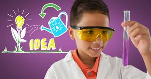 Boy scientist with test tube and colorful idea graphics Royalty Free Stock Images