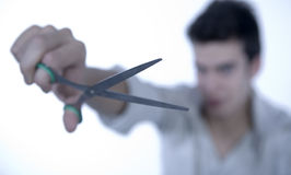 Boy with scissors Royalty Free Stock Photography