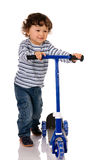 Boy with scooter stock photos