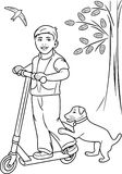 Boy on the scooter. Coloring page. Illustration Stock Photography