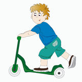 The boy on the scooter Royalty Free Stock Images