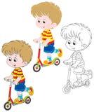 Boy scooterist Stock Image