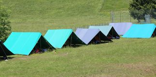 Boy scout camp with large tents to sleep Royalty Free Stock Image