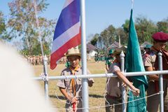 Boy scout camp in sisaket,THAILAND 2017.  Royalty Free Stock Photo