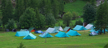 Boy scout campground with tents. Royalty Free Stock Photos