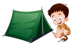 Boy scout camping. With camping tent Stock Photos