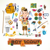 Boy scout with camping equipment and object -. Illustration Stock Photos