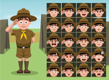 Boy Scout Cartoon Emotion faces Vector Illustration Stock Image