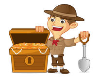 Boy scout cartoon finding treasure. Isolated in white background Stock Image