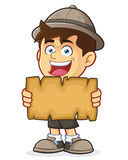 Boy Scout or Explorer Boy Holding a Blank Map. Vector clipart picture of a Boy Scout or Explorer Boy cartoon character Holding a Blank Map Stock Image