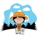 Boy scout felice di vettore con il suo cane lanuginoso illustrazione di stock