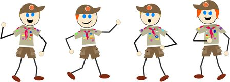 Boy scout kids Stock Images
