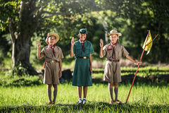 Boy scout making an oath, asia.  Stock Image