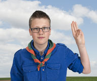 Boy scout making an oath swear. Outdoors in the fields Royalty Free Stock Images