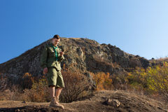 Boy scout or ranger out on a wilderness trail Stock Image