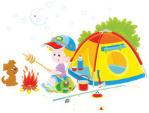 Boy scout roasting bread on campfire. Vector illustration of a little boy and his pup cooking bread on campfire near their small tourist tent Stock Photography