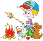 Boy-scout roasting bread on campfire. Vector illustration of a little boy tourist and his small pup cooking bread on fire Royalty Free Stock Image