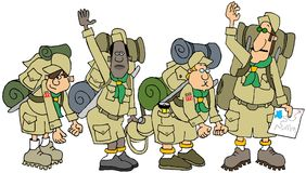 Boy Scout troop on a hike with their packs Royalty Free Stock Photography
