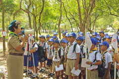 Boy Scouts. NAKHON SI THAMMARAT, THAILAND - March 2: Boy Scouts listen teacher in park on March 2, 2012 at Nakon Si Thammarat, Thailand stock photography