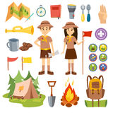Boy scouts and camping vector set. Stock Photos