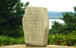 Boy Scouts Commemoration Stone. Stone commemorating the first Boy Scout's camp, Brownsea Island, Dorset, England stock photo
