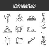 Boy scouts concept icons. Adventure exploration Travel Concept Stock Photo