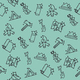 Boy scouts concept icons pattern. Adventure exploration Travel Concept Royalty Free Stock Photos