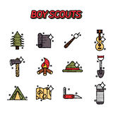 Boy scouts flat concept icons Stock Photo