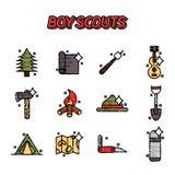 Boy scouts flat concept icons. Adventure exploration Travel Concept Stock Photo
