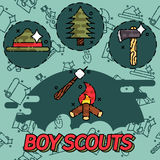 Boy scouts flat concept icons Stock Photography