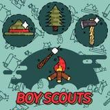 Boy scouts flat concept icons. Adventure exploration Travel Concept Stock Photography