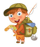 Boy Scouts. Funny cartoon character. Vector illustration. Isolated on white background Stock Images