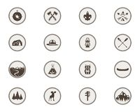 Boy scouts icons, patches. The full bundle. Camping stickers. Tent symbol, moose pictogram, backpack elements, canoe. Mountains, and others. Stock vector Royalty Free Stock Image