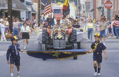 Boy scouts Marching in July 4th Parade, Centreville, Maryland Stock Image