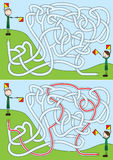 Boy scouts maze. For kids with a solution Royalty Free Stock Photo