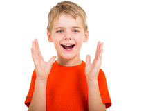 Boy screaming. Cute boy screaming isolated on white background Stock Photography