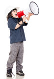 Boy screaming nd wearing helmet Stock Photography