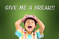 Boy screaming out for Give Me A Break. Little boy screaming out for Give Me A Break Stock Images