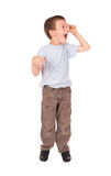 Boy screams wow. On white Royalty Free Stock Images