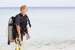 Boy With Scuba Diving Equipment Enjoying Beach Holiday Royalty Free Stock Photos